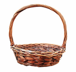 Red wooden wicker basket isolated