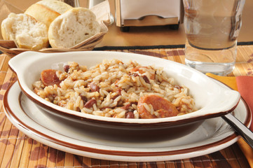 Sausage bean and rice casserole