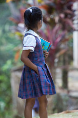 Cute young student girl with a book and a pencil