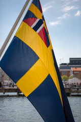 Detail of Swedish flag in the seaport of Goteborg