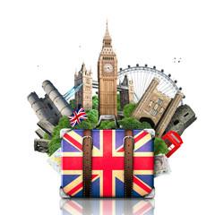 England, British landmarks, travel and retro suitcase