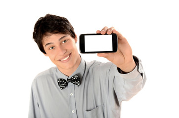 Businessman taking a selfie photo with smart phone. Focus phone.