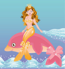 Young golden mermaid girl and pink dolphin, vector