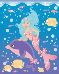 Little mermaid girl and dolphin, vector illustration