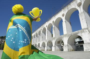 Brazilian Flag Trophy Man Lapa Arches Rio de Janeiro