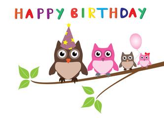 vector birthday card with owl family