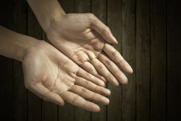 Hands cupped together