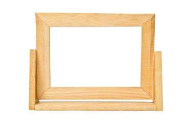 empty wooden photo frame isolated on white background