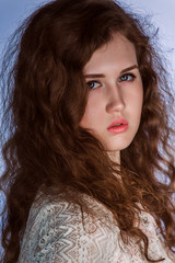 Vintage romantic fashion woman with long hair.