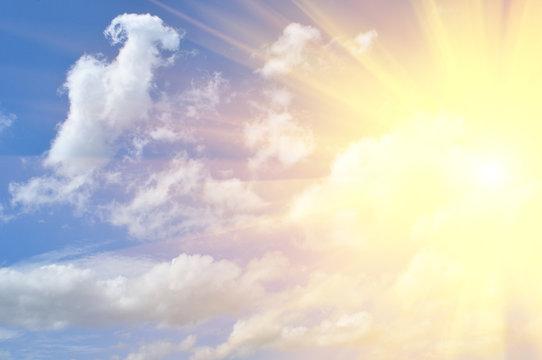 sunbeam and clouds in sky
