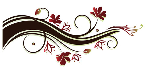 Ranke mit zarten Blüten. Vintage Dekoration, braun und rot.