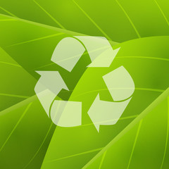 Green background with recycling symbol