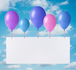 Flying balloons banner on heaven background