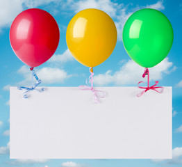 Flying banner with balloons on heaven background
