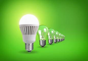Idea concept with led bulb and tungsten bulbs