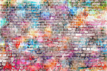 Poster de jardin Graffiti Colorful grunge art wall illustration, background