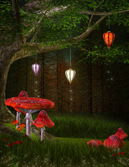 Fototapete - Enchanted nature series - Hill of lanterns