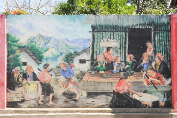 Maya paintings at the village of San Juan la laguna