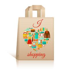 Love heart shopping bag symbol