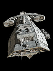 Spaceship on black - top view