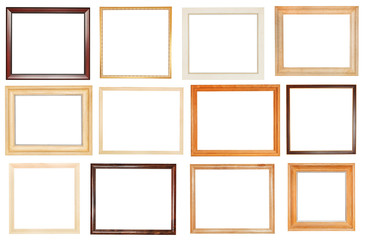 set of wide wooden picture frames