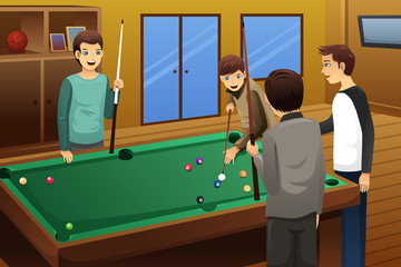 Young people playing billiard