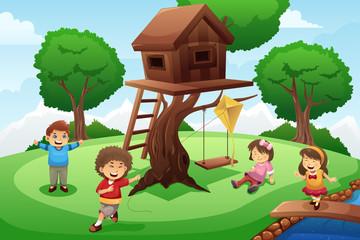 Kids playing around tree house