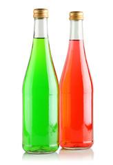 Drinks in glass bottles.