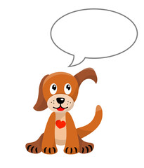 cute puppy with empty speech bubble, isolated, illustration