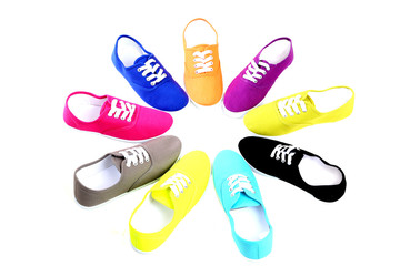 New colorful canvas shoes in a circular design
