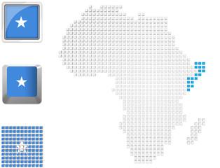 Somalia on map of Africa