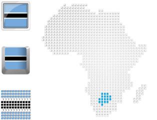 Botswana on map of Africa