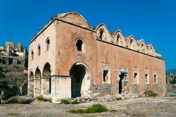 Ruins of Greek Orthodox Church in Kayakoy, Turkey