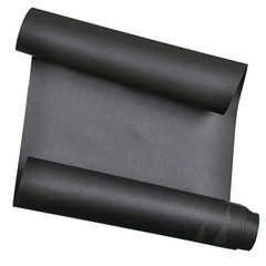 piece of black paper rolled up in roll isolated on white