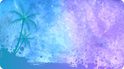 Watercolored background with palms