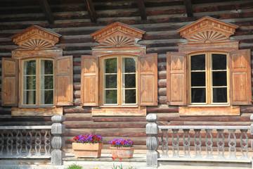 Details eines Holzhauses