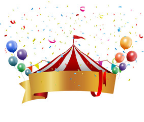 Circus background with balloon and confetti