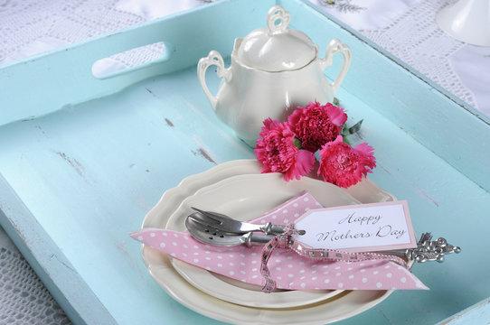 Happy Mothers Day aqua blue vintage tray