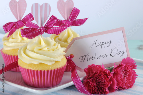 Happy Mothers Day cupcakes close up