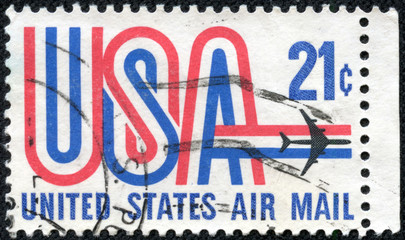 stamp printed in USA, depicting aircraft, United States Air Mail