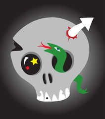 Skull with snake and arrow