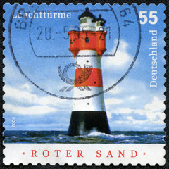stamp printed in the Germany shows Roter Sand, Lighthouse
