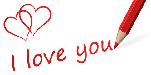 "Stift mit Text "" I love you """
