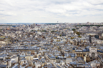 Paris, France. View of the city from the Basilica of Sacre Coeur