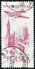 "stamp shows Plane over ""Peace Steelworks. Gdansk"