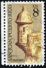 stamp shows Sentry Box, Morro Castle, San Juan
