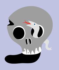 Skull with snake