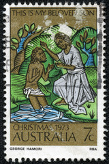 stamp printed in Australia,shows the Baptism of Christ