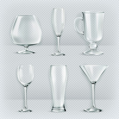Set of transparent glasses goblets, vector