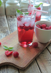 Printed roller blinds Dessert Cold rasberries drink with fresh fruits